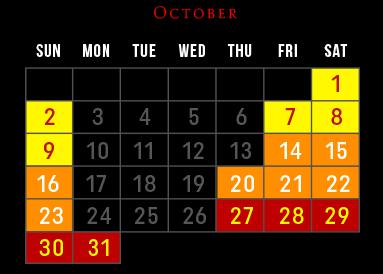 Laurel's House of Horror - Haunted House - October 2016 Schedule