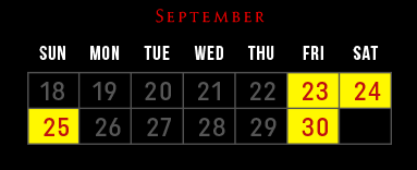 Laurel's House of Horror - Haunted House - September 2016 Schedule