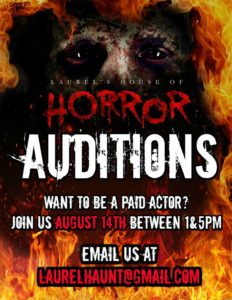 Laurel's House of Horror and Escape Room - Auditions for Actors - August 14th (1-5PM)