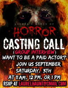 Laurel's House of Horror and Escape Room - Auditions for Actors - September 3rd (11AM - 1PM)