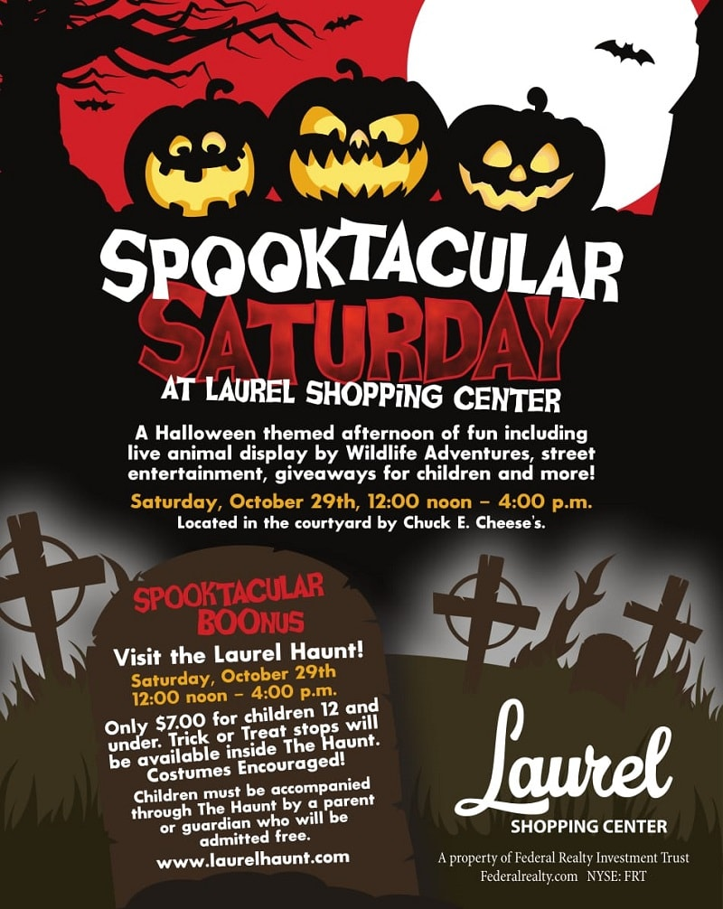 Spooktacular Saturday - October 29 @ 12-4pm - Laurel Shopping Center