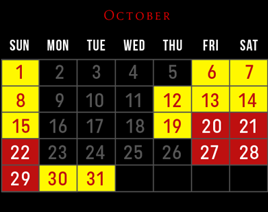 Haunted House Schedule - October 2017